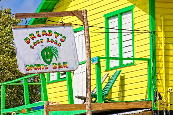 a bar in san pedro on ambergris caye in belize