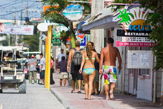 a street in san pedro on ambergris caye in belize