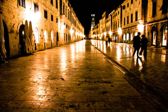 croatia dubrovnik old town at night