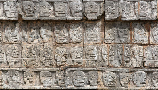 mexico cancun Chichen Itza Tzompantli wall of skulls