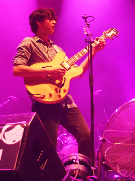 Ezra Koenig of Vampire Weekend playing the guitar at the 2010 FIB Music Festival in Benicassim Spain.