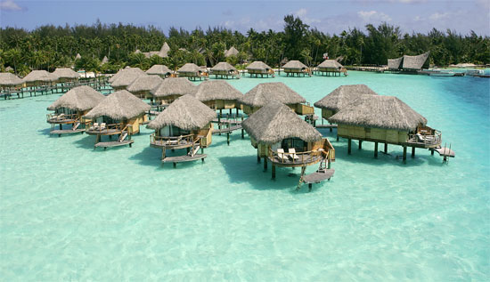 Over water bungalows at bora bora pearl beach resort