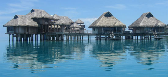 over water bungalows at hilton bora bora nui resort