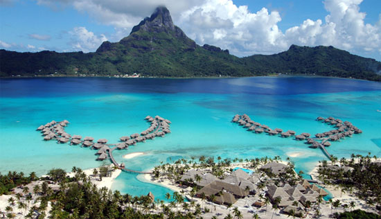 over water bungalows at InterContinental Bora Bora Resort Thalasso Spa