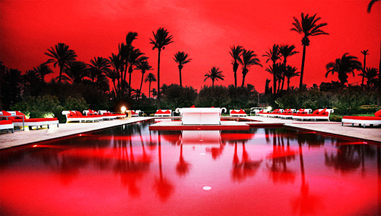 murano resort morocco marrakesh red pool at night