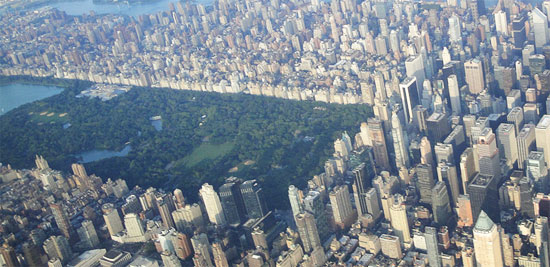 aerial view of central park New York City
