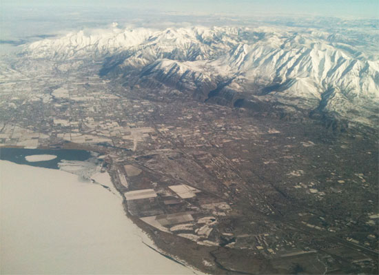 salt lake city aerial view mountains