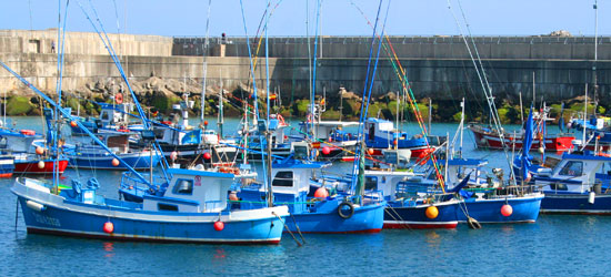 spain asturias cudillero fishing boats